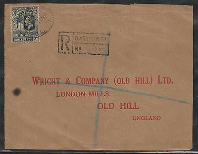british colony gambia KG V wrapper only front registered bathurst 1928  a172.89