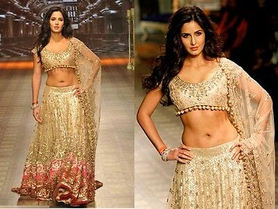 Indian/Pakistani Bollywood Designer Katrina Kaif Gold Lengha/ Chanya Choli
