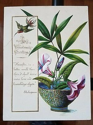 Antique 1800's Victorian Embossed Christmas Card Hummingbird w/ Pretty Flowers