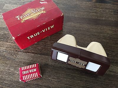 Vintage True View 3D Stereoscope Viewer + 1 Reel Boxed Surrey Sussex