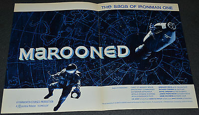 John Sturges' MAROONED 1968 ORIGINAL 12x18 MOVIE TRADE AD! GREGORY PECK SCI-FI!