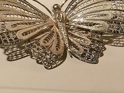 Beautiful Antique Silver Hallmarked Large Filgree Butterfly Brooch FreeUKPostage