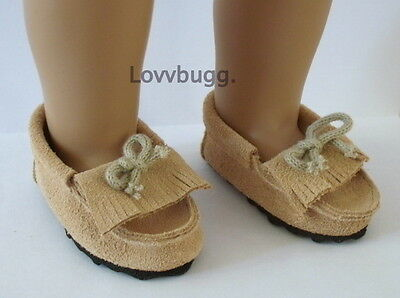 Tan Leather Moccasins for 18 inch Doll Shoes American Girl Widest Variety Found