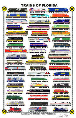 """Trains of Florida 11""""x17"""" Railroad Poster by Andy Fletcher signed"""