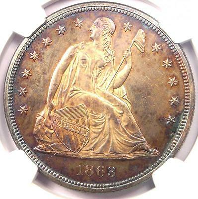 1863 Seated Liberty Silver Dollar $1 - NGC Uncirculated Detail (UNC MS) - Rare!