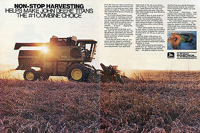 1982 John Deere Titan Country 6620 2 Page Combine Farm Tractor Print Ad