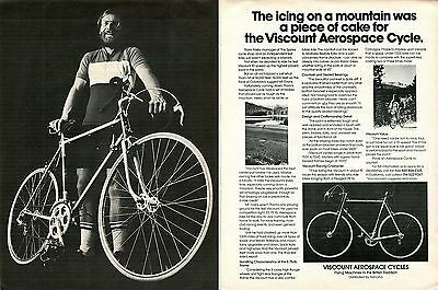 1976 Viscount Aerospace Bicycles Piece of Cake 2 Page Print Ad.