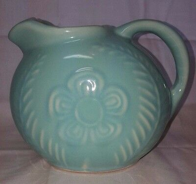 Awesome Vintage Shawnee Pottery Fern Flower Green Water Pitcher Beautiful !!