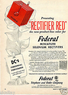 1953 Print Ad of Federal Telephone & Radio Company Rectifier Red