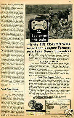 1937 John Deere Beater on the Axle Spreader Vintage Tractor Print Ad