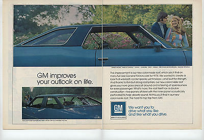 1973 2 Page Ad for 74 GM General Motors Colonnade Hard Top Roof Full Size Car