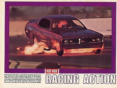 1972 Great Pic of Bob McFarland's '71 Dodge Demon Funny Car on Fire at Lions DS