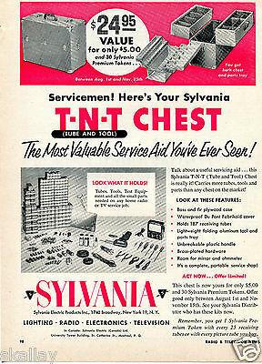 1953 Print Ad of Sylvania Servicemen Tube And Tool T-N-T Chest