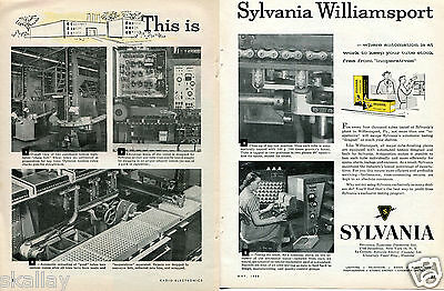 1958 2 Page Print Ad of Sylvania Electric Williamsport PA Tube Finishing Plant