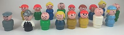 Vintage Fisher Price Little People Lot of 17 Figures, Kids, Plastic and Wooden