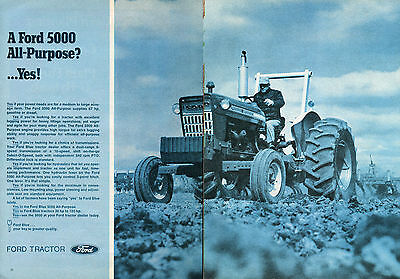 1971 Ford 5000 Farm Tractor 2 Page Print Ad