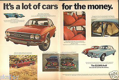 1972 2 Page Print Ad of Audi 100LS with Porsche 917 Volkswagen Beetle & Lincoln