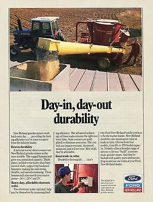 1990 Print Ad of Ford 8630 New Holland 358 Grain Mixer Farm Tractor