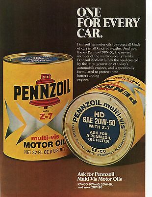 1975 Pennszoil Z-7 Multi Vis Motor Oil One For Every Car Print Ad