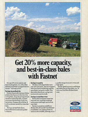 1990 Print Ad of Ford New Holland Fastnet Baler & 5610 Farm Tractor