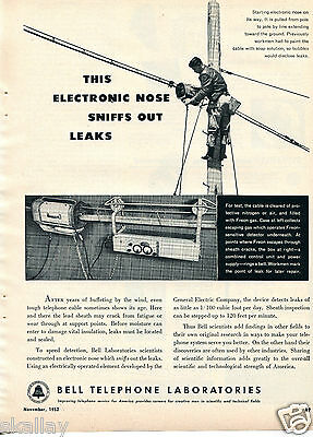 1952 Print Ad of Bell Telephone with GE General Electric Cable Leak Detector