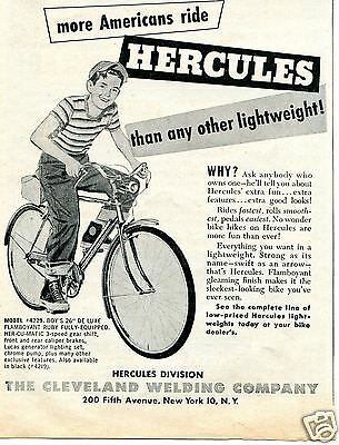 1954 Cleveland Welding Co Hercules Model 4229 Bicycle Print Ad