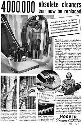 1938 Vintage Print Ad of Hoover Model 25 Cleaning Ensembles Vacuum Cleaner