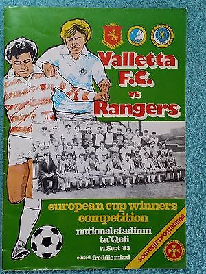 1983 - VALLETTA v RANGERS PROGRAMME - CUP WINNERS CUP 1ST ROUND 1ST LEG