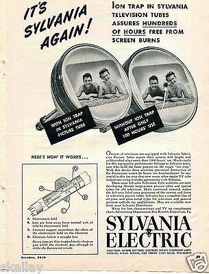 1949 Print Ad of Sylvania Electric Ion Trap Television Tubes