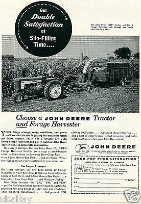 1959 Print Ad of John Deere 630 Farm Tractor & No 6 Forage Harvester