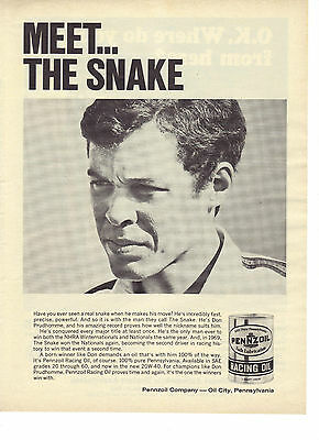 1969 Pennzoil Racing Oil Meet The Snake Don Prudhomme NHRA Print Ad