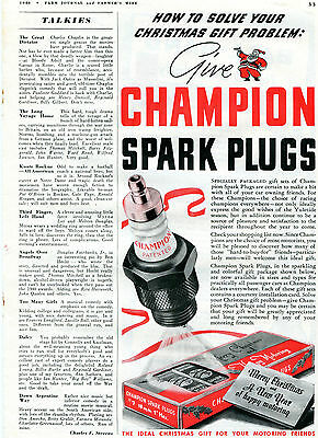 1940 Champion Spark Plugs Christmas Gift Happy New Year Print Ad