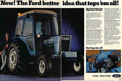 1976 2 Page Print Ad of Ford 4600 Farm Tractor