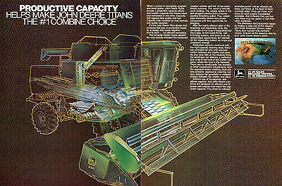 1982 John Deere Titan Country 230 Cutaway 2 Page Combine Farm Tractor Ad