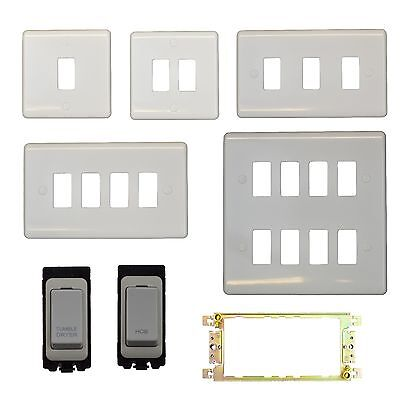 White Grid Switches - Engraved Kitchen Switch Panels, DISHWASHER, FRIDGE etc..