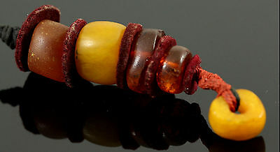 Antique Moroccan Amber Beads Genuine Natural Egg Yolk Butterscotch Strand of 5
