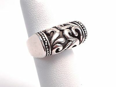 Vintage Scroll Design Sterling Silver Raised Band Ring Size 5.0  6.7g .925