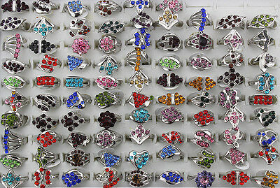 Mix lots 10pcs rhinestone silver-plated assorted colorful pretty Lady rings L298