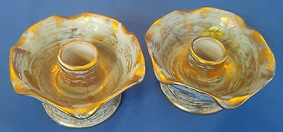 Pair Vintage Stangl Art Pottery '2KT Gold Candle Holders #5138
