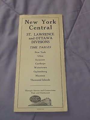 1954 New York Central System St.lawrence And Ottawa Division Time Table