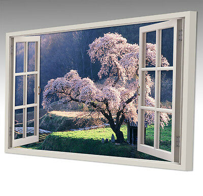 """GIANT CHERRY TREE LANDSCAPE LARGE 30x20"""" WINDOW CANVAS WALL ART PICTURE"""