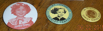 Vintage Lot of 3 Shirley Temple Pinback Buttons~Movie Promos