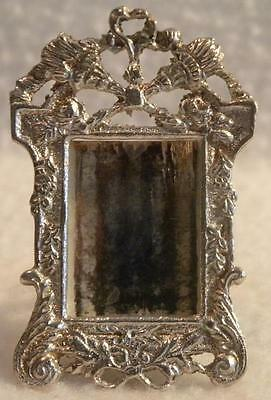 Miniature Sterling Silver Picture Photo Frame Mirror Easel Back