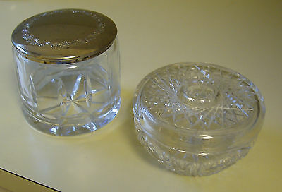 Antique dresser set cut glass hair receiver and jar with silver lid