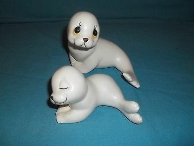 Mother and Baby Seal Figurines, Vintage, Made in Mexico by Oxford