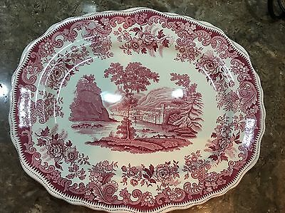 "Spode Large Plate Meat Plate Platter Pink ""rhine"" Pattern"