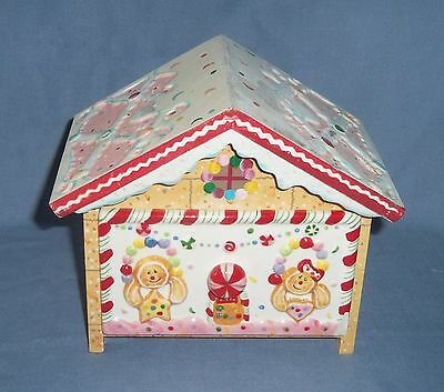 GINGERBREAD Man Woman HOUSE Cookie Wood Ceramic Recipe Drawer Box Container