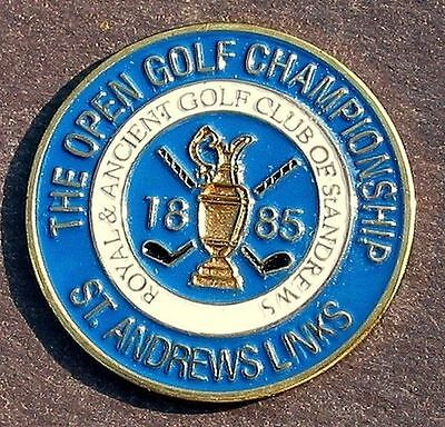 "1885 British Open Golf Ball Marker - Hand Painted 1"" Coin Old St Andrews Links"