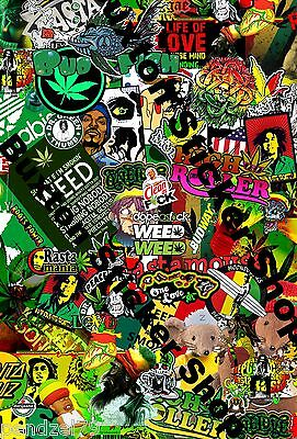 2 x Rasta Mouse Weed Bob Marley Surf Scooter Sticker Bomb Euro Vinyl Decal