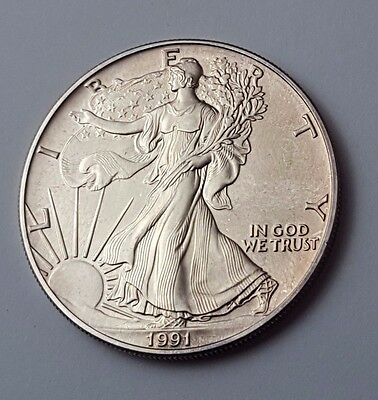 U.s.a - Dated 1991 - Silver - Eagle - $1 One Dollar Coin - American Silver Coin